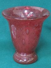 PRETTY SWEDISH RUBY COLOURED GLASS VASE, CIRCA 192