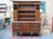OAK INLAID KITCHEN DRESS WITH PLATE RACK
