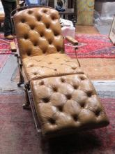 ANTIQUE METAL FRAMED CHESTERFIELD STYLE LEATHER UP