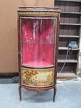 FRENCH STYLE  ORMOLU MOUNTED SINGLE DOOR GLAZED CORNER DISPLAY CABINET WITH HANDPAINTED COUNTRY SCENE
