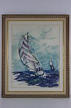 Framed Sailboat Water Color signed Deperia