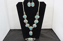 3 Piece Necklace set, Earrings, Cuff Bracelet