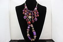 Purple Beaded Necklace with Matching Bracelet