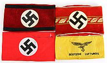 4 WWII GERMAN ARMBANDS