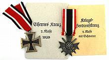 WWII GERMAN WAR MERIT CROSS IRON CROSS 2nd CLASS