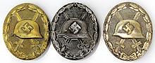 THREE WWII GERMAN WOUND BADGES