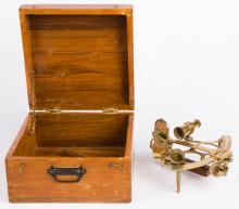 STANLEY BRASS SEXTANT WITH CASE