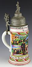 GERMAN REGIMENTAL LITHOPHANE STEIN GROLSHERZOGIN