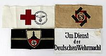 WWII GERMAN ARMBAND LOT OF 4