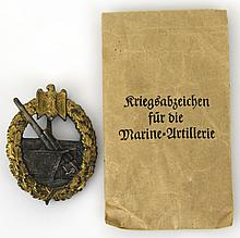 WWII GERMAN NAVAL COASTAL ARTILLERY WAR BADGE