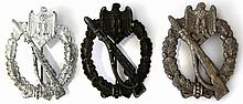 WWII GERMAN INFANTRY ASSAULT BADGE LOT OF 3