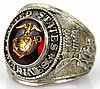 WWII STERLING CREST CRAFT USMC RING
