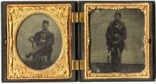 CIVIL WAR DOUBLE TINTYPE OF A UNION SOLDIER