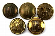 CIVIL WAR ERA CONFEDERATE STATES BUTTON LOT OF 5