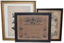 FRAMED CIVIL WAR DOCUMENT LOT OF 3