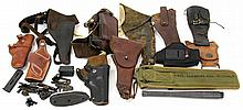 MIXED LOT HOLSTERS GUN PARTS & ACCESSORIES