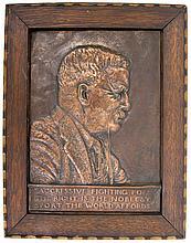 JAMES FRAZER FRAMED COPPER RELIEF T. ROOSEVELT