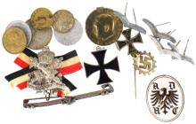 GERMAN WWII MILITARY PIN AND CURRENCY LOT