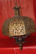 Antique Circa 1880 French Solid Brass Chandellier with 6 lights & Intricate Flower-Leaf Motiff 24x18