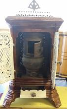 Antique c1900 French Enameled Cast-Iron Potbelly Stove