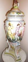 Antique French Porcelain Capodimonte  56-inches, width 12.00 inches, 15-lbs