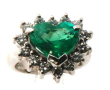 Investment Grade: Certified Estate 18K Gold Colombian GIA Emerald Heart & Genuine Diamond Ring 8.80gr, 5.25ctw