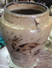 Rare Ancient 16th C Joseon Korean Dynasty Porcelain Painted Pot 11x8