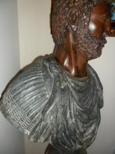 Rare Antique Bronze Bust of a Mature Julius Caesar in Italian Green Marble
