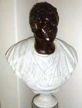 Rare Antique Bronze Bust of a Mature Julius Caesar in Italian White Marble