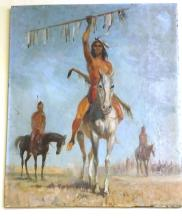Antique Oil on Borad : Native American Indian Warrior on White Horse 30x25