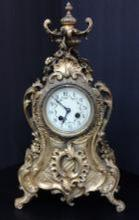 Antique Brass 1880 French Gold Fire Pendulum Mantle Clock 16-lbs, 18