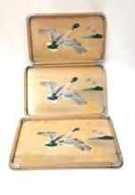 Antique Circa 1900 Oak Wooden Hand Painted Duck Tray Set of 3, 13-7