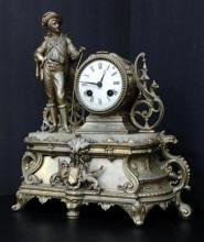 Antique French 1880 Napoleon Brass Fire Gold Marble Mantle Pendulum Clock 10-lbs,16x14