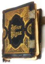 Antique Holy Bible New/Old Testament Color & Blk/Wht Circa 1886 12x9