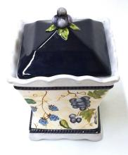 Contemporary Decorative Handpainted Cookie Jar with Grape Leaf Lid 9x7