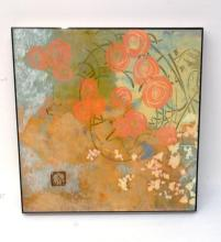 Contemporary Signed Framed Floral Asian Art 20.00