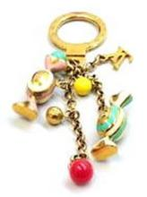 Louis Vuitton Gold Candy Charm Key Chain w, Receipt, Dust Bag & Box-Pre-Owned VG Condition-Gold Plated with Enamel