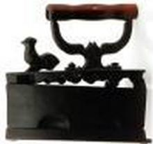 Rare 1900 Antique American Cast Iron w. Coal Holder & Rooster 8.00x4.00