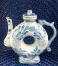 Vintage Chinese Donut Tea Kettle (Blue & White Porcelain) 7.5
