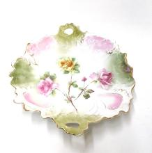Vintage English Rose Decorative Signed Floral Plate w/ Handles