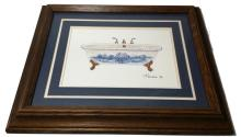 Vintage Framed Signed Claw-Foot Bath Tub Painting 17x14
