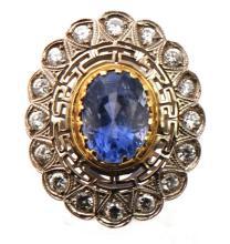 GIA Certified Art Deco Circa 1927 Platinum 10.00ctw Old Ceylon Blue Sapphire & VS-Quality Diamond Ring 11.70 grams