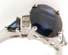 Certified CRG Estate 14K Gold 6.35ctw Natural Blue Sapphire & Diamond Engagement Ring