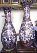 Antique Late 19th Century Pair of Monumental Size Japanese Imari Temple Vases (Porcelain):Meiji Period