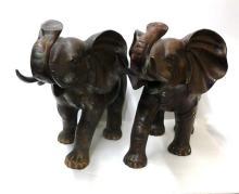 Antique Rare Bronze Meiji Period Circa 1880 Elephant Pair