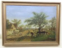 Vintage Framed Oil on Canvas: Farmhouse Setting with Cows Grazing