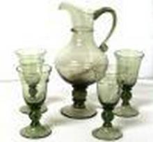 Antique European Decorative Green Glass Pitcher Set