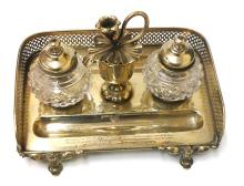 Antique Inkwell Set Circa 1868 Silver w. Gold Plating & Cut Crystal Inscribed