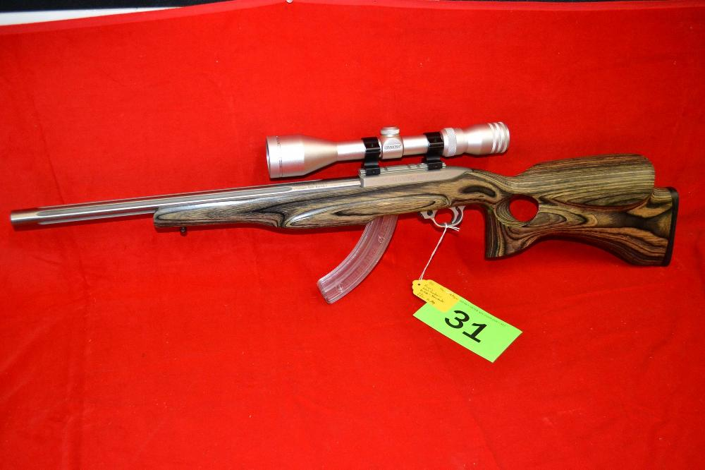Ruger 10/22 Semiautomatic Rifle , 22, with a Simmons 3-10x44 Wide Angle Scope and an Adams & Bennett Custom Barrel