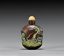 ENAMELED YIXING POTTERY SNUFF BOTTLE